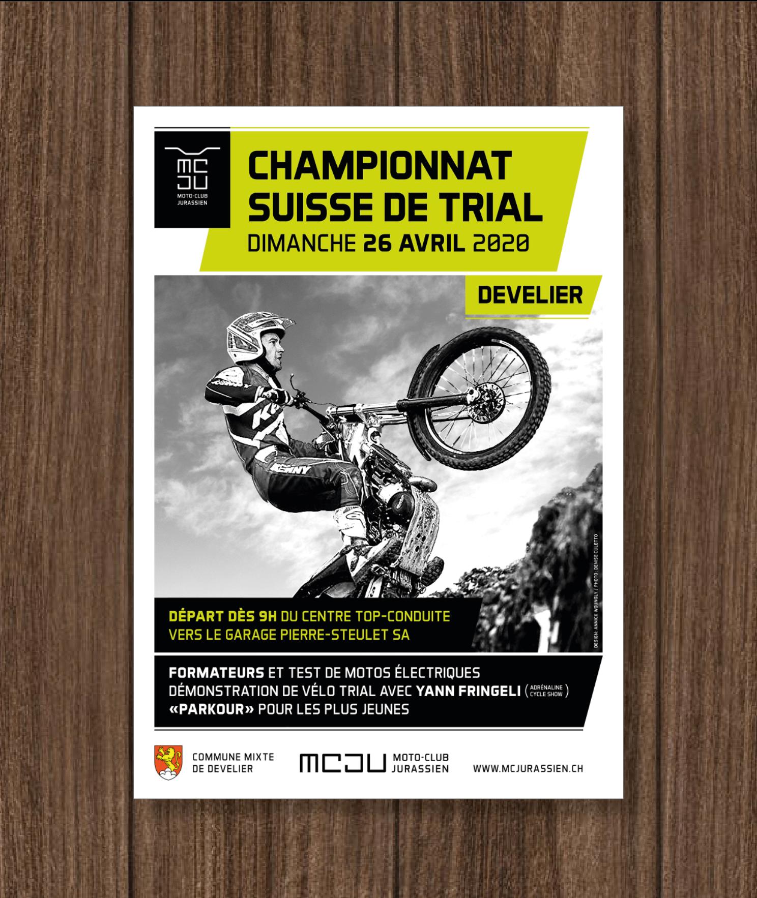 Concept d'affiche pour le Moto Club Jurassien. Championnat suisse de trial.