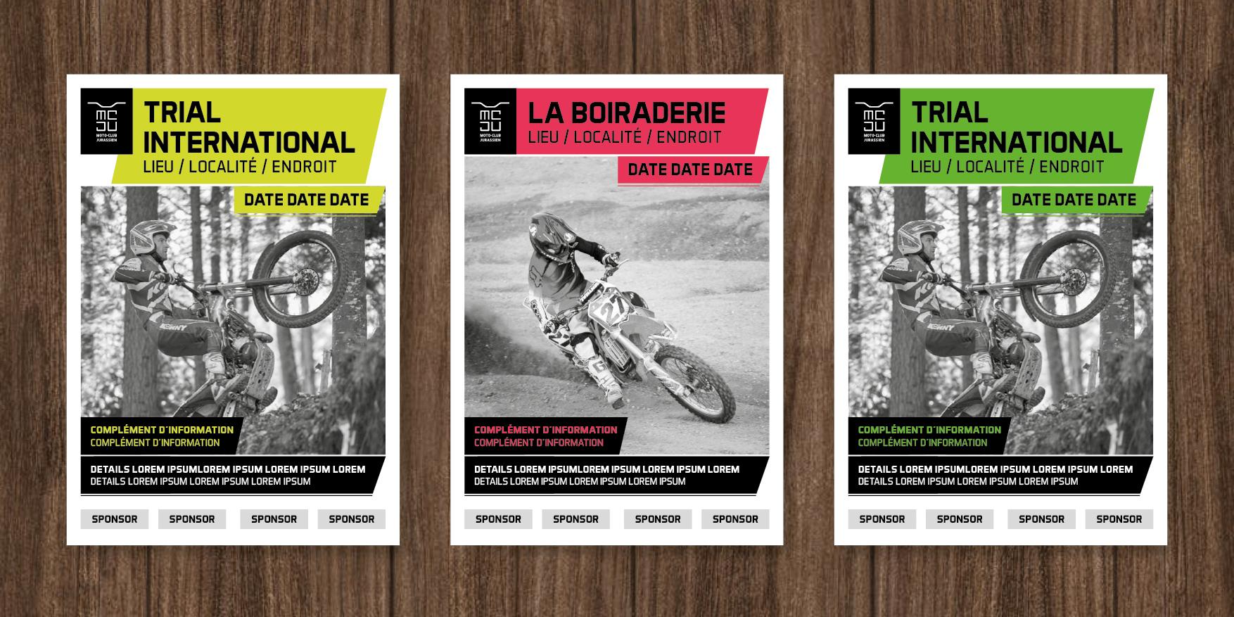 Concept d'affiche pour le Moto Club Jurassien.