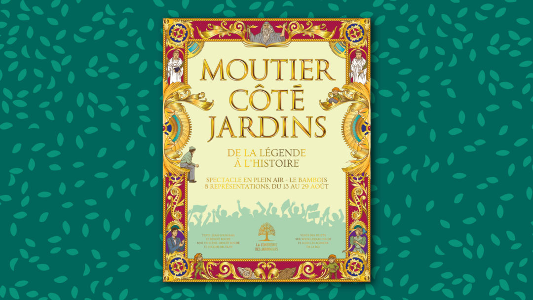 """Poster for the theater play """"Moutier côté Jardins"""""""